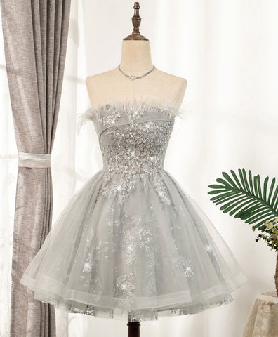Cute Gray sweetheart lace tulle short prom dress gray cocktail dress