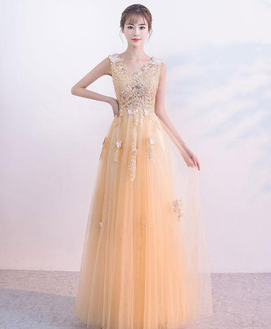 Champagne Tulle Lace Long Prom Dress For Teens, Champagne Tulle Evening Dress