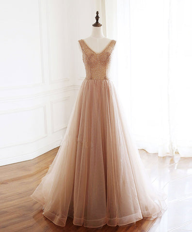 2020 Champagne v neck tulle beads long prom dress evening dress