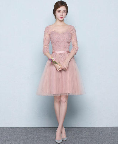 Simple Pink Tulle Lace Short Prom Dress For Teens, Pink Tulle Bridesmaid Dress