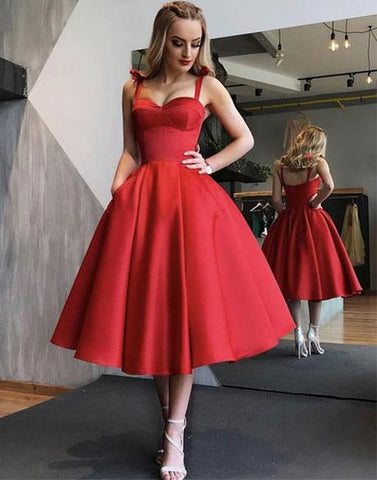 Simple Red Sweetheart Prom Dress For Teens, Red Homecoming Dress