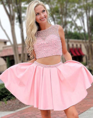 Pink two pieces beads short prom dress, pink homecoming dress