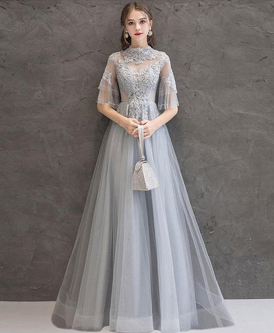 Cute Gray lace tulle long prom dress gray tulle lace formal dress