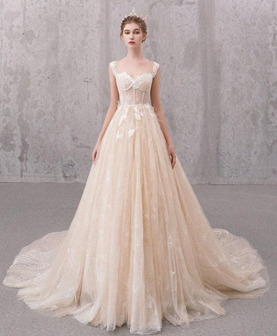 Simple Champagne Sweetheart Lace Tulle Long Wedding Dress, Lace Bridal Gown