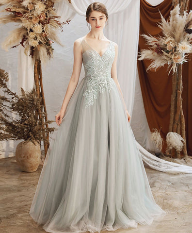 Elegant Gray green tulle lace long prom dress gray tulle formal dress