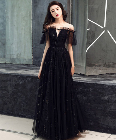 Cute black tulle off shoulder long prom dress black formal dress