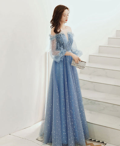 2021 Blue round neck tulle sequin long prom dress tulle evening dress