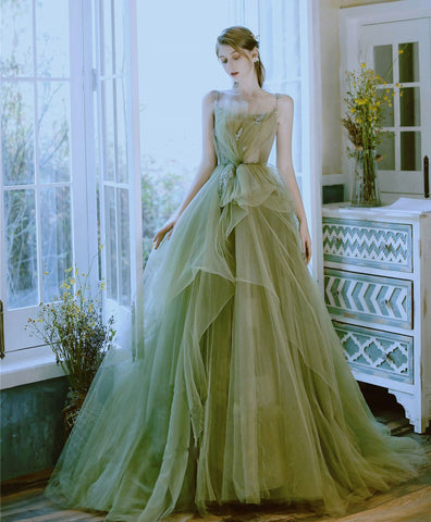 Elegant Green tulle lace long prom dress green tulle lace formal dress