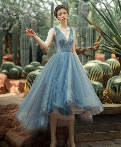 2019 New Coming Blue V Neck Tulle Prom Dress, Blue Tulle Evening Dress
