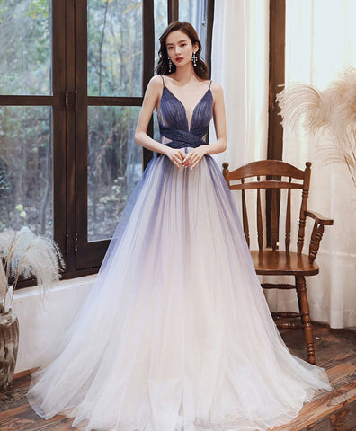 Cute blue v neck tulle long prom dress blue tulle evening dress