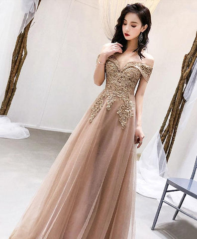 Unique champagne tulle off shoulder long prom dress, tulle evening dress