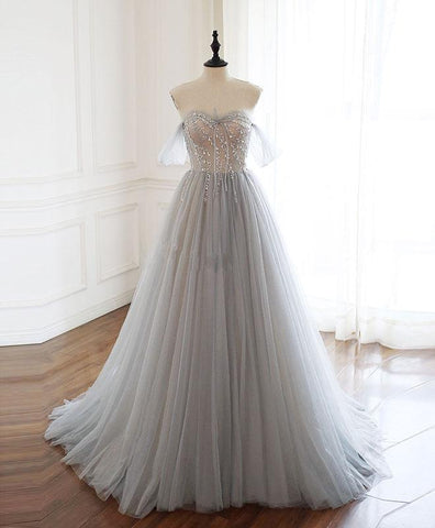 Pretty Gray Sweetheart Tulle Beads Long Prom Dress Gray Tulle Formal Dress