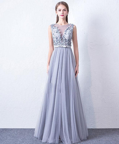 Elegant Gray Round Neck Tulle Lace Long Prom Dress, Gray Evening Dress For Teens