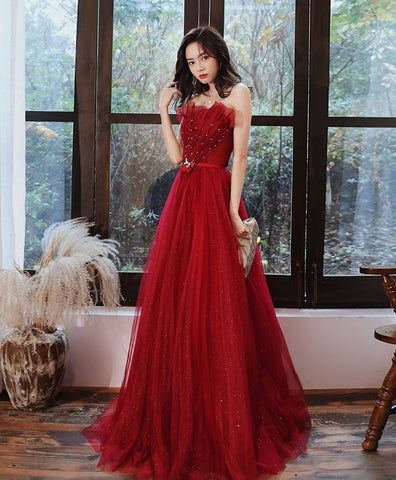 Elegant Burgundy tulle long prom dress tulle formal dress