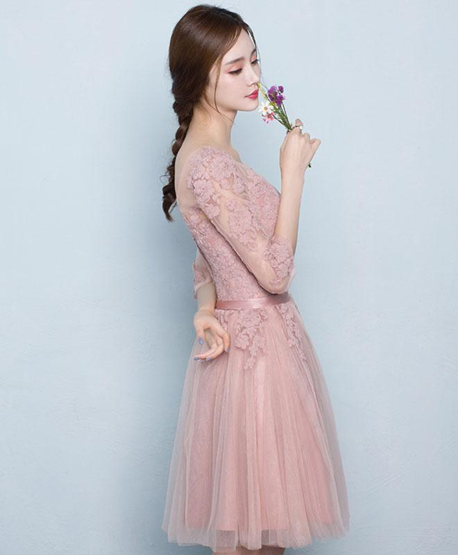 b68086fee5d ... Simple Pink Tulle Lace Short Prom Dress For Teens