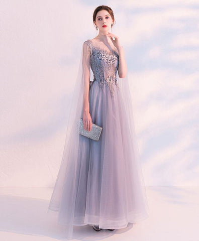 Gray Tulle Lace One Shoulder Prom Dress, Gray Tulle Long Evening Dress