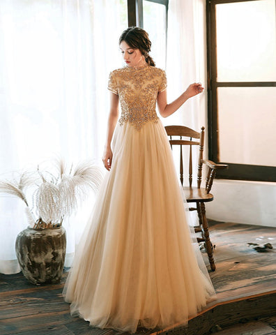 Cute Champagne tulle beads long prom dress champagne tulle formal dress