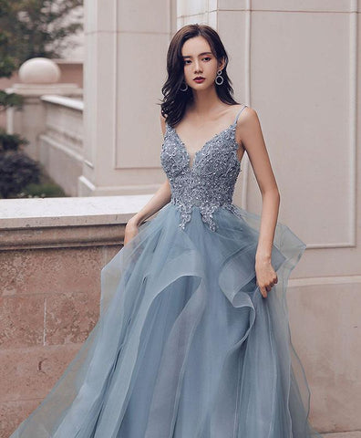 Beautiful Blue Sweetheart Tulle Lace Long Prom Gown Lace Formal Dress