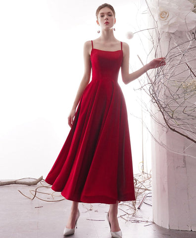 2021 simple red satin tea length prom dress red formal dress