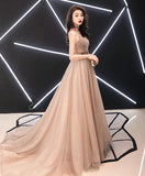 2019 New Coming Champagne Sweetheart Tulle Long Prom Dress, Champagne Tulle Evening Dress