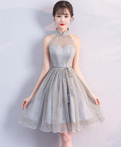 Cute Gray Tulle High Neck Short Prom Dress For Teens, Gray Homecoming Dress