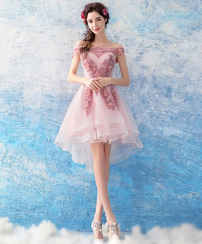 Cute Pink Tulle Lace Short Prom Dress For Teens, Pink Tulle Homecoming Dress