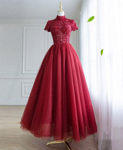 2019 New Coming Burgundy Tulle Lace Long Prom Dress, Tulle Lace Evening Dress