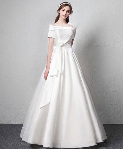 Cute White satin long prom dress white long evening dress
