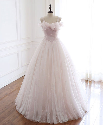 Cute Light Pink Tulle Long Prom Dress Pink Tulle Formal Dress