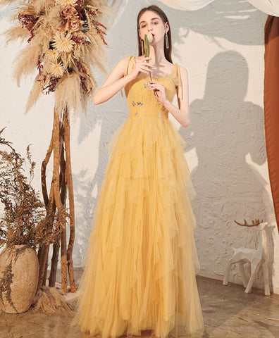 Cute Yellow sweetheart tulle long prom dress yellow formal dress