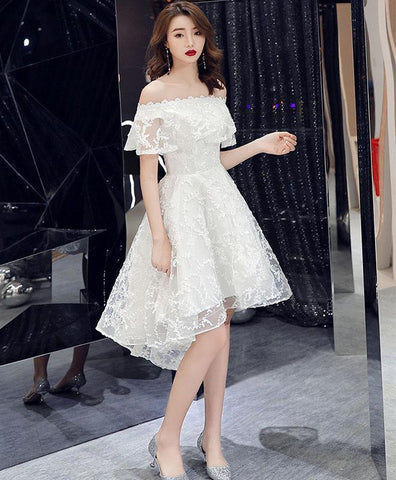 2021 White off shoulder lace short prom dress lace homecoming dress