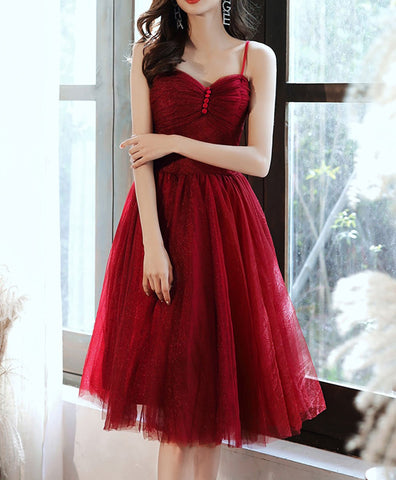 2021 Simple sweetheart tulle short prom dress burgundy cocktail dress