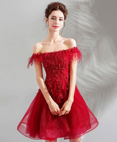 Unique Burgundy Tulle Short Prom Dress For Teens, Burgundy Homecoming Dress