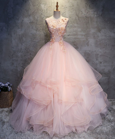 Beautiful Pink round neck tulle lace long prom dress lace formal dress
