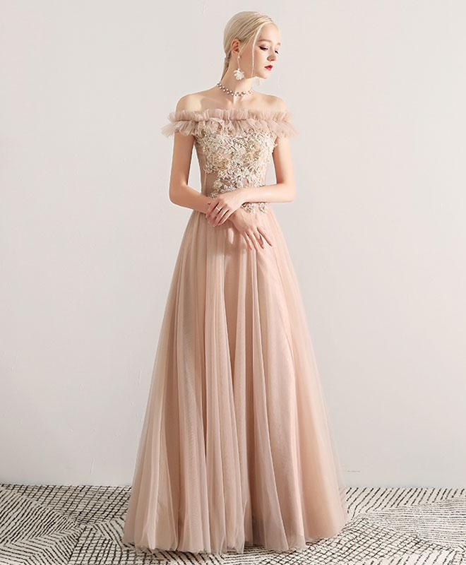 5edea4053149 Champagne tulle lace long prom dress, champagne tulle off shoulder evening  dress ...