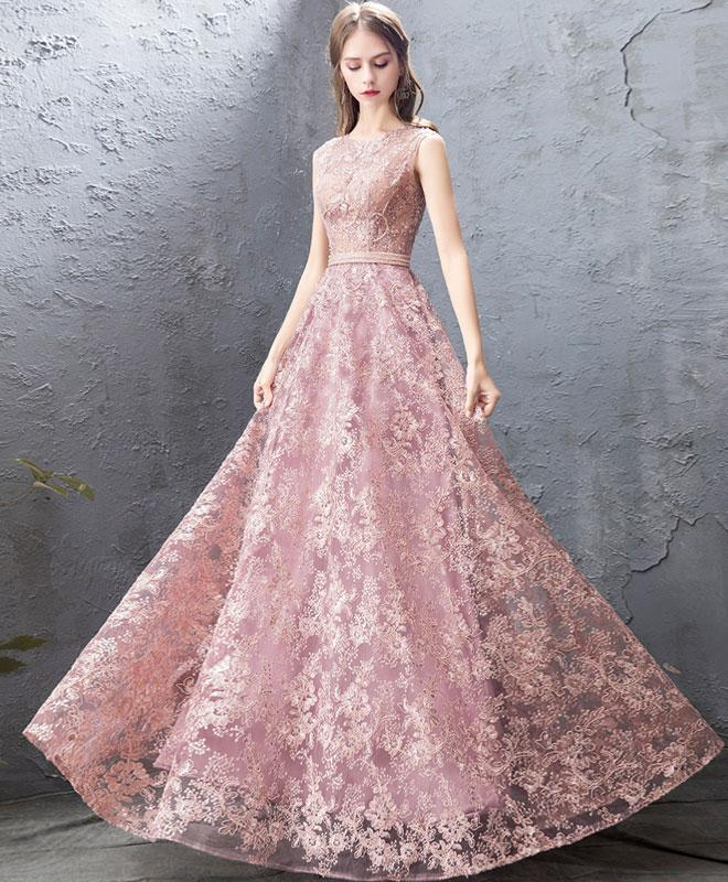 29ba733f065 2019 New Coming Pink Round Neck Lace Long Prom Dress