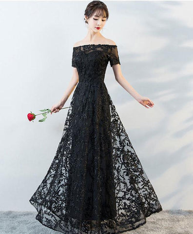 Simple Black Tulle Lace Long Prom Sress, Black Lace Evening Dress