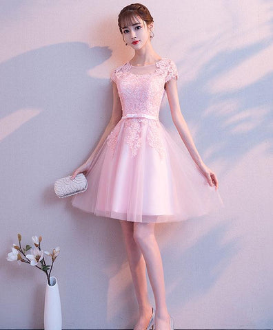 2020 Pink Round Neck Tulle Lace Short Prom Dress Pink Cocktail Dress