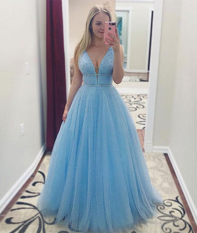 CUTE BLUE TULLE LONG PROM DRESS, BLUE BEADS TULLE LONG PROM DRESS