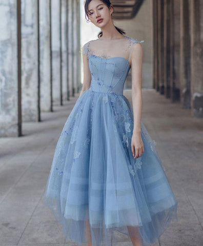 2020 Blue Tulle Short Prom Dress Blue Bridesmaid Dress