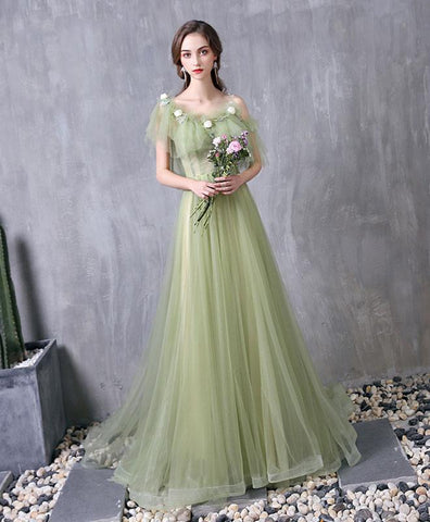 Cute Green Tulle Lace Long Prom Dress Green Evening Dress