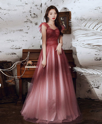 2021 Simple sweetheart tulle sequin long prom dress tulle formal dress