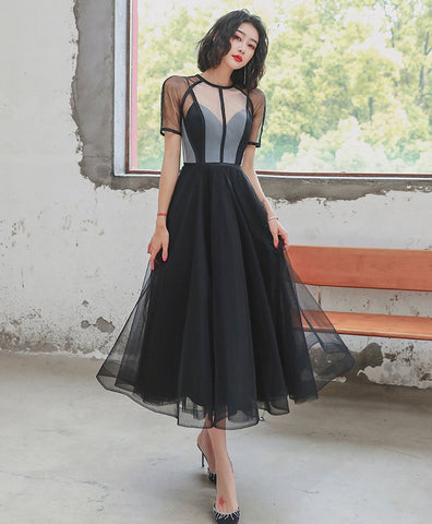 Cute black tulle short prom dress black tulle formal dress