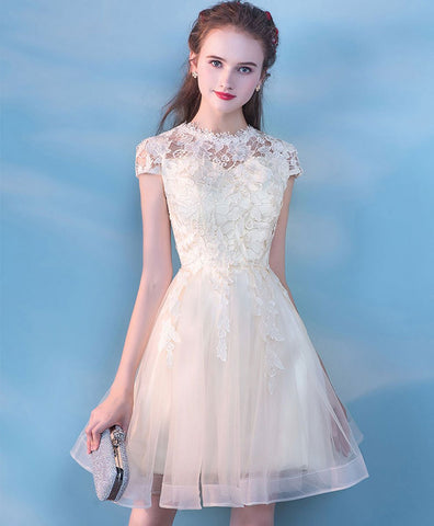 Cute champagne tulle lace short prom dress champagne tulle formal dress