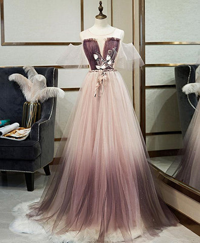 2020 Unique Tulle Round Neck Lace Long Prom Dress Tulle Evening Dress