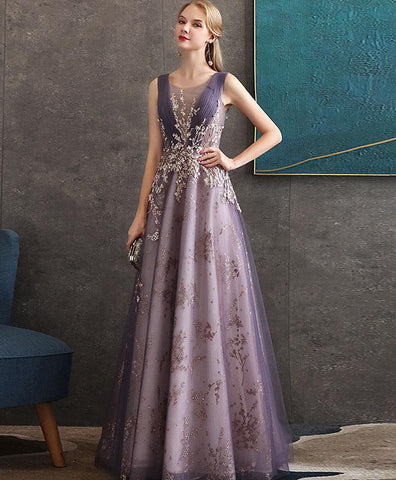 Elegant Purple Round Neck Tulle Lace Long Prom Dress Purple Evening Dress
