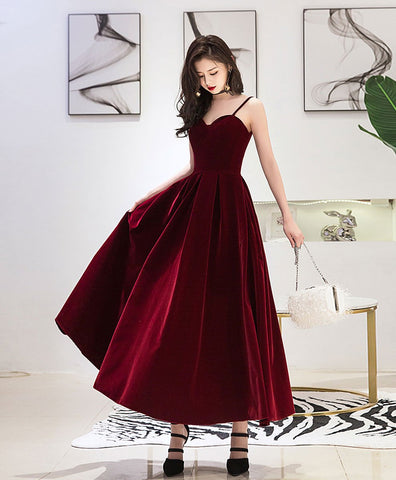 Simple burgundy sweetheart tea length prom dress burgundy bridesmaid dress