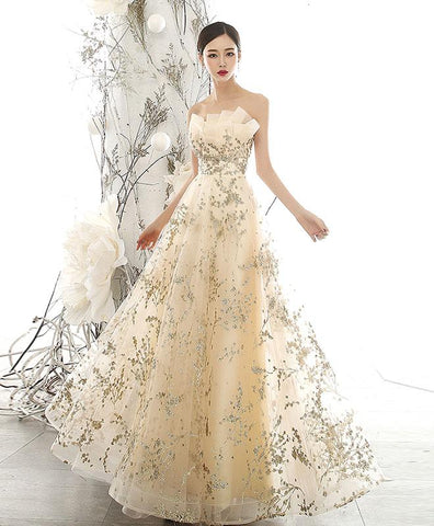 Beautiful Champagne Tulle Lace Long Prom Dress Champagne Evening Dress