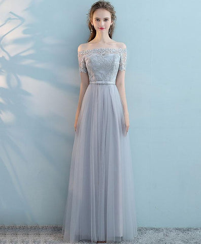 Gray tulle lace long prom dress, gray tulle bridesmaid dress