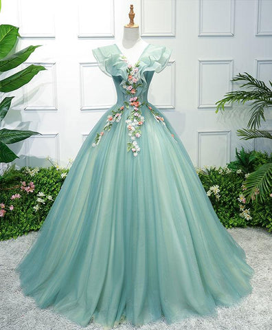 Beautiful green tulle V neck prom dress, evening gown